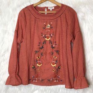umgee embroidered boho top size: S